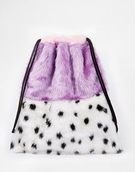 The Ragged Priest Faux Fur Colour Block Animal Print Drawstring Backpack Pinkspot