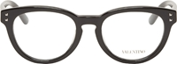 Valentino Black Polished Round Optical Glasses
