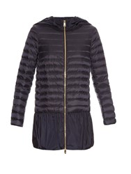 Moncler Dragonnet Quilted Down Coat Navy