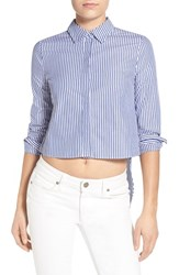 Women's Kendall Kylie Crop Open Back Shirt Blue White