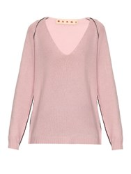 Marni Contrasting Stitch Cashmere Sweater Pink