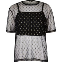 River Island Womens Black Mesh Star Print Boxy T Shirt