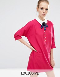 Sister Jane Siren Song Shift Dress With Contrast Collar Pink