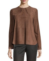 Brunello Cucinelli Long Sleeve Seamed Suede Top Women's