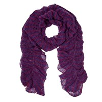 East Knitted Ruched Scarf Purple