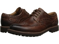 Clarks Montacute Wing Dark Tan Leather Men's Lace Up Wing Tip Shoes Brown