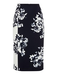 Ellen Tracy High Waist Floral Pencil Skirt Navy And White
