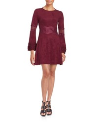 Design Lab Lord And Taylor Faux Suede Long Sleeve Fit Flare Dress Maroon