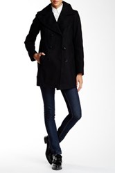 Andrew Marc New York Winnie Double Breasted Pea Coat Black