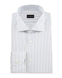 Ermenegildo Zegna Pinstripe Woven Dress Shirt White Navy Open White Patt