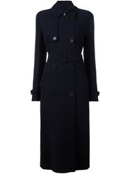 Dkny Long Belted Trench Coat Blue