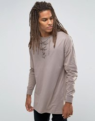 Asos Oversized Long Sleeve T Shirt With Lace Up Collar Fossil Beige