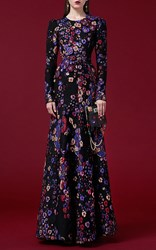 Andrew Gn Purple Long Sleeve Floral Jacquard Gown