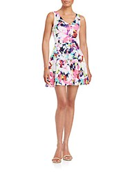 Saks Fifth Avenue Red Floral Print Fit And Flare Dress Multi
