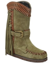 Mojo Moxy Nomad Western Wedge Boots Women's Shoes Army