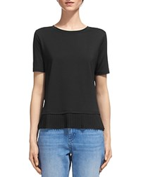 Whistles Pleated Hem Tee Black