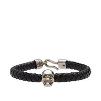 Alexander Mcqueen Woven Leather Skull Bracelet Black