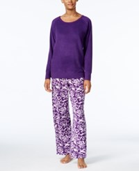 Charter Club Textured Fleece Pajama Set Only At Macy's Purple Scroll