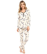 Bedhead Long Sleeve Classic Henley Pajama Set Cream Lipstick Women's Pajama Sets White