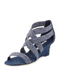 Manolo Blahnik Glassa Crisscross Wedge Sandal Denim 337 Jeans La Moda