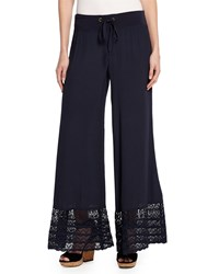 Xcvi Noe Valley Lace Hem Crepe Pants Navy
