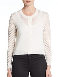Rebecca Taylor Open Stitch Cardigan Chalk