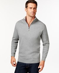 Tommy Bahama Men's Big And Tall Flip Side Reversible Zip Neck Sweater Carbon Grey Heather