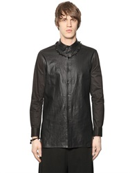 D By D Leather Effect Canvas And Poplin Shirt