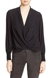 Alice Olivia Women's 'Elisha' Wrap Front Shawl Collar Silk Blouse