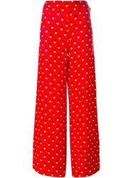 Christopher Kane Heart Print Trousers Red