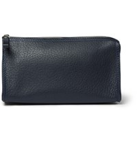 D R Harris Grained Leather Wash Bag Navy