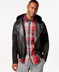 Sean John Hooded Neoprene And Leather Motorcycle Jacket Pm Black