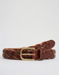 New Look Woven Leather Belt In Brown Brown