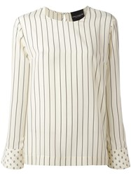 Erika Cavallini Striped Long Sleeve Blouse Nude Neutrals