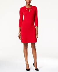 Nine West Cutout Fit And Flare Sweater Dress Red