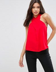 Asos Wrap Front Halter Neck Top Red