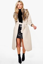 Boohoo Shawl Faux Fur Collar Maxi Coat Beige