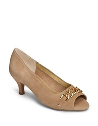 Aerosoles Made Of Honor Leather Pumps Light Tan