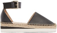 See By Chloe Black Leather Sunset Espadrilles