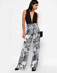 French Connection Wide Leg Trousers In Lala Palm Print Multi