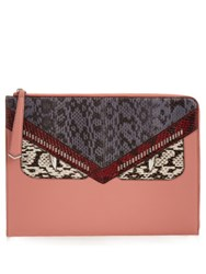 Fendi Bag Bugs Leather And Snakeskin Pouch Pink Multi