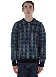 Saint Laurent Tartan Mohair Knit Sweater Grey