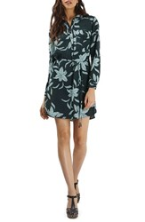 Topshop Women's Flower And Leaf Print Shirtdress