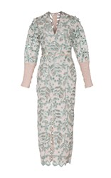 Sandra Mansour Fleurs Embroidered Crochet Midi Dress Pink Blue
