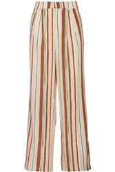 Raoul Boyfriend Striped Silk Crepe De Chine Wide Leg Pants Camel