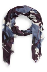 Women's Burberry 'Painted Camo' Wool And Silk Scarf