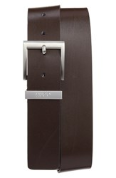 Boss Men's Leather Belt Dark Brown