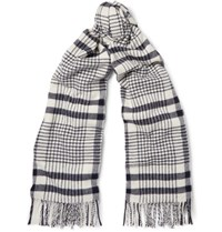 Acne Studios Canada Checked Virgin Wool Scarf Midnight Blue