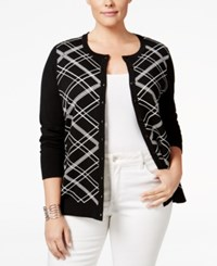 Charter Club Plus Size Printed Cardigan Only At Macy's Deep Black Plaid Combo