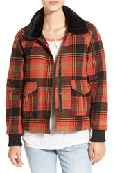 Women's Volcom 'Chickity Check It' Plaid Bomber Jacket With Faux Fur Collar